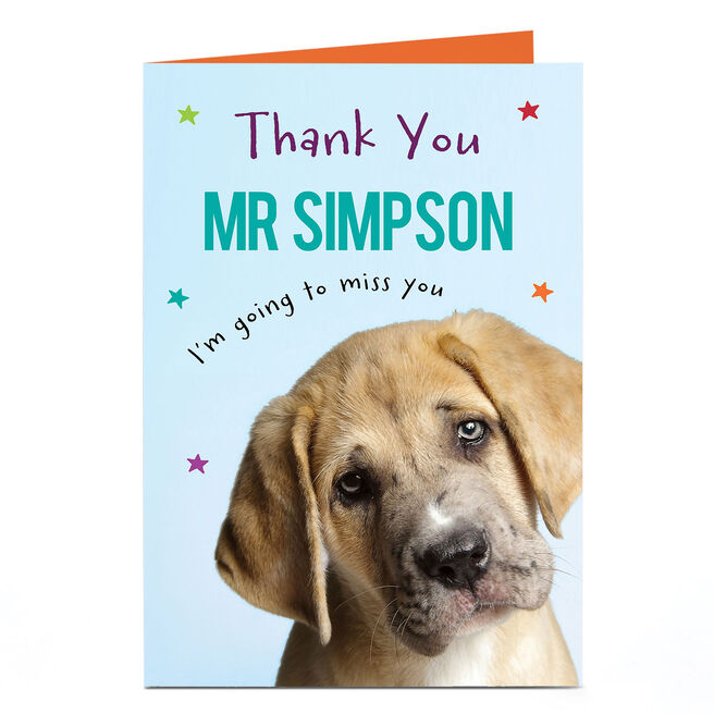 Personalised Thank You Teacher Card - Puppy