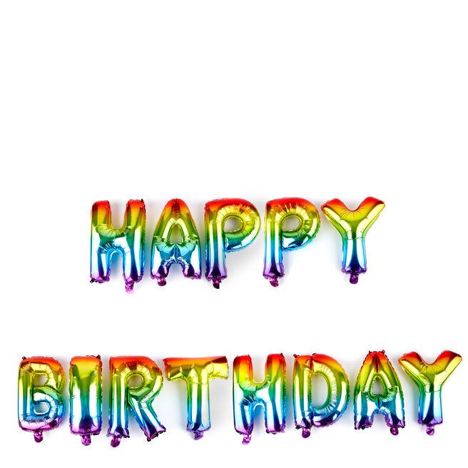 Happy Birthday Rainbow Balloon Banner Kit