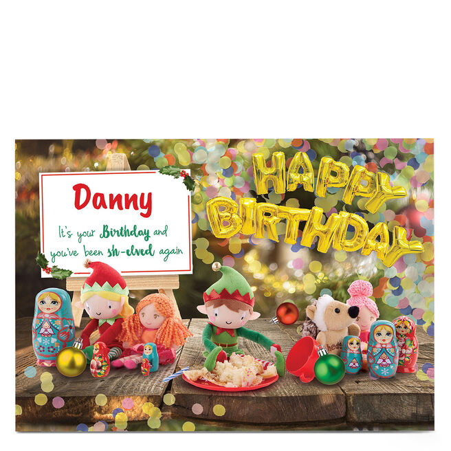 Personalised December Birthday Card - Sh-elved Again, Any Name