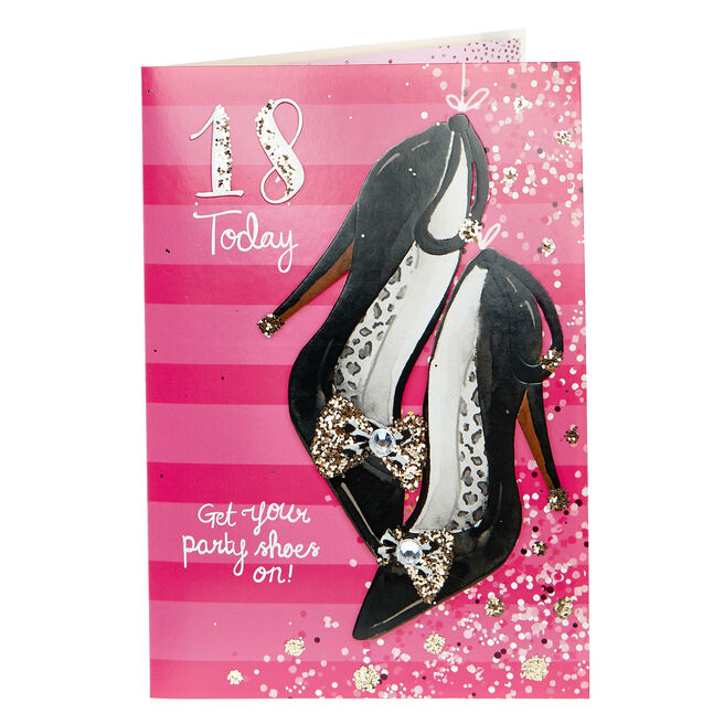 18th Birthday Card - Get Your Party Shoes On!