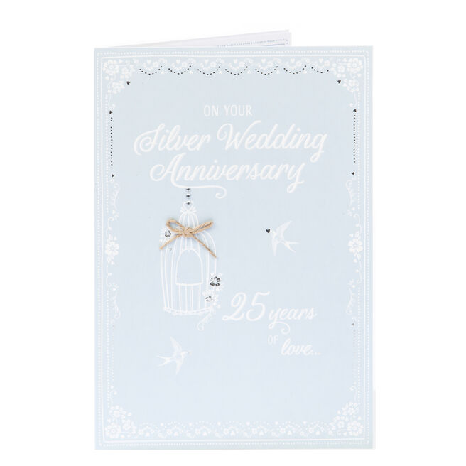 Silver Wedding Anniversary Card - 25 Years Of Love