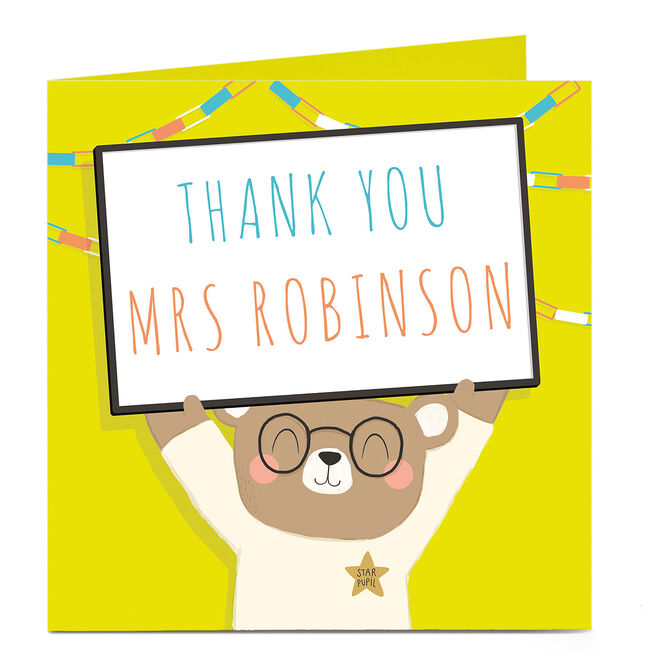 Personalised Thanks Teacher Card - Bear With Sign
