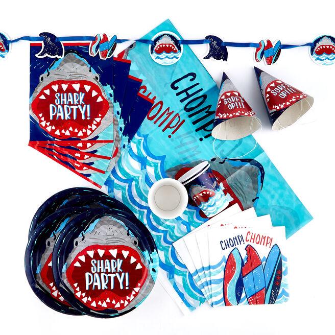 Shark Party Tableware & Decorations Bundle - 90 Pieces