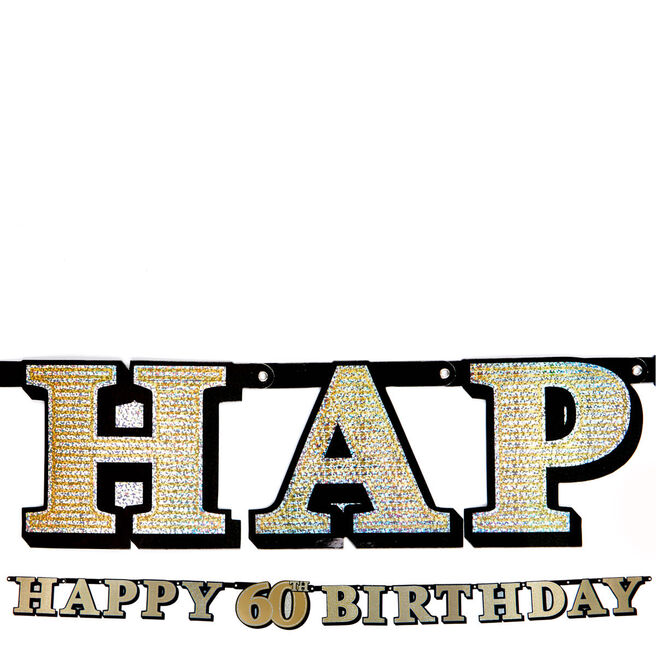 Gold Holographic 60th Birthday Letter Banner