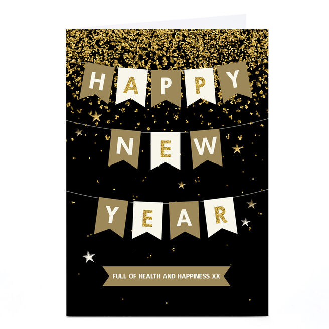Personalised New Year Card - Black and Gold Bunting
