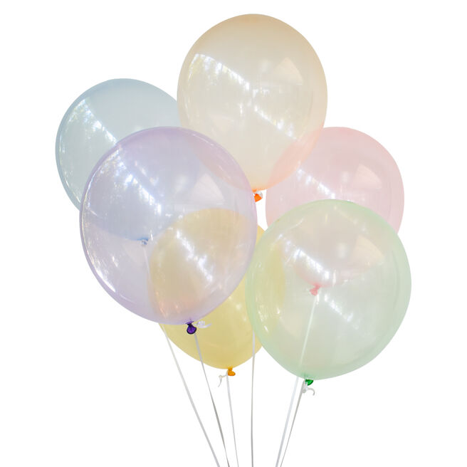 Assorted Transparent Colour Latex Balloons - Pack Of 12