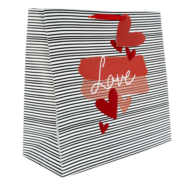 Giant Square Valentine's Day Gift Bag - Black & White Stripes