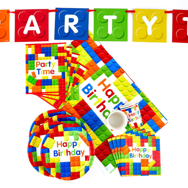 Birthday Building Blocks Party Tableware & Decoration Bundle - 82 Pieces