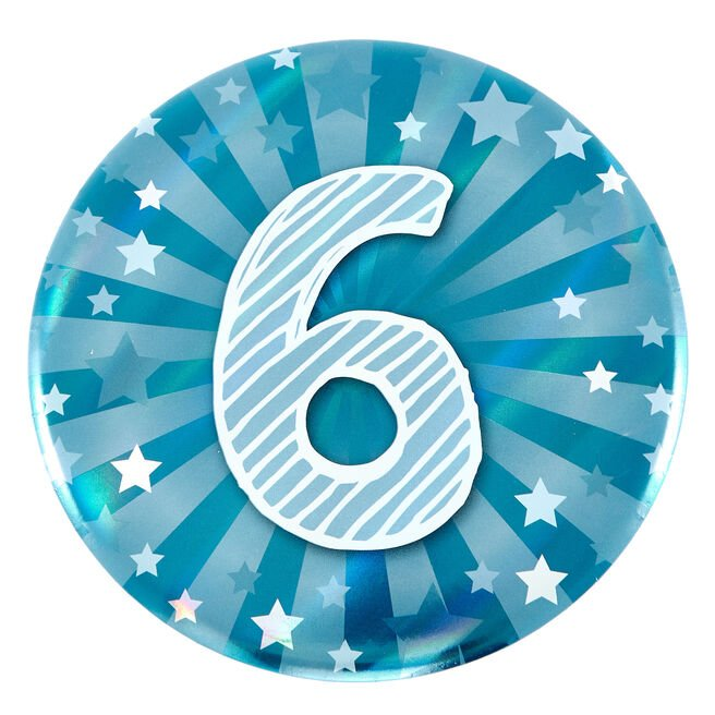 Giant 6th Birthday Badge - Blue