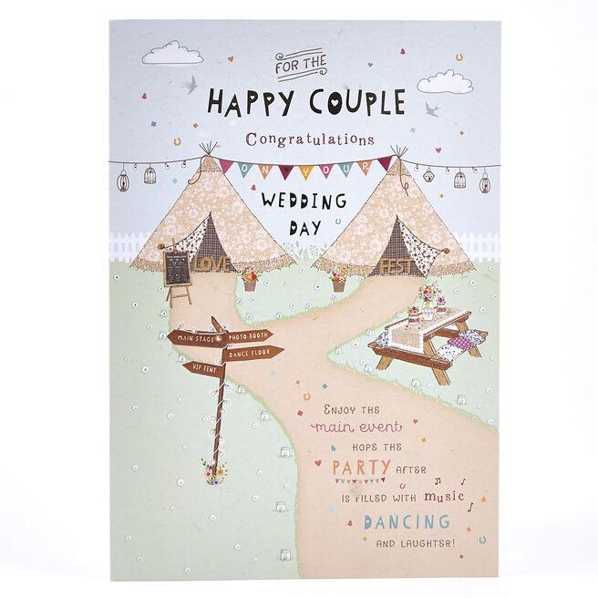 Wedding Card - Happy Couple Festival Scene
