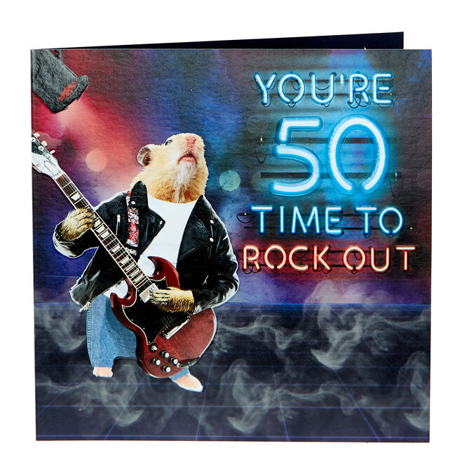 50th Birthday Card - Time To Rock Out