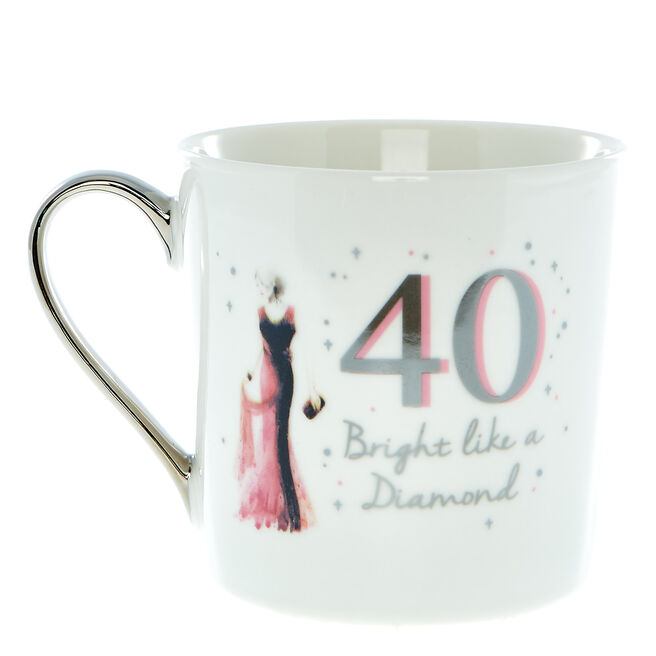 40th Birthday Mug In A Box - Bright Like A Diamond