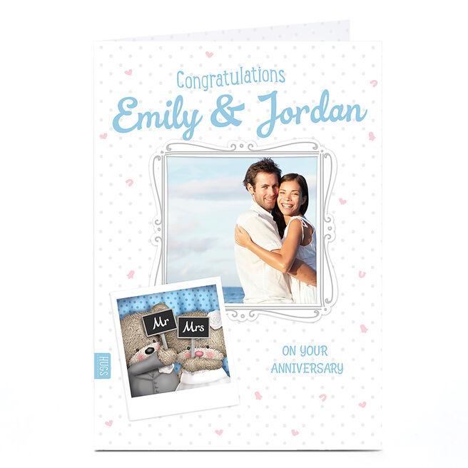 Personalised Photo Anniversary Card - Mr & Mrs Hugs