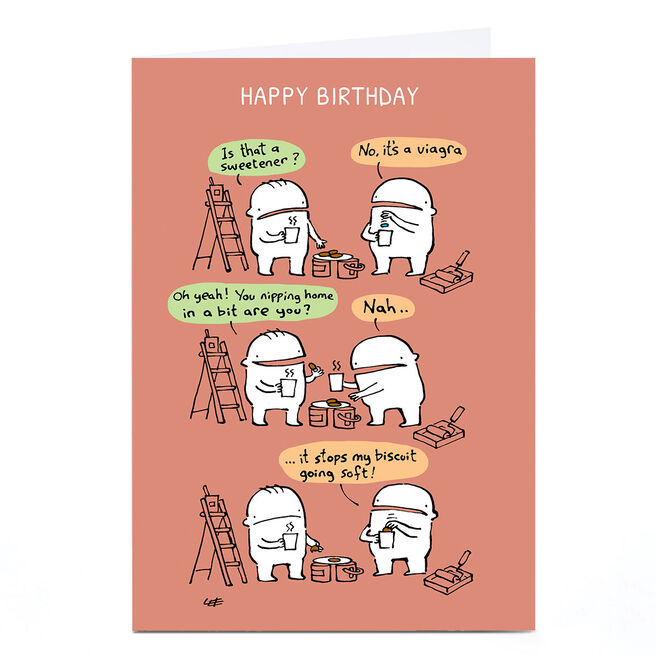 Personalised Lee Fearnley Birthday Card - Soft Biscuit