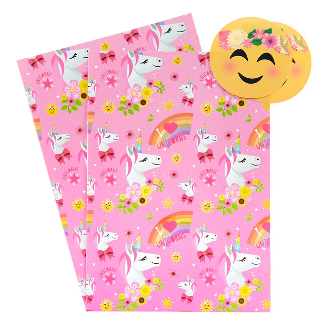 Unicorns & Rainbows Emoji Wrapping Paper & Gift Tags - Pack of 2