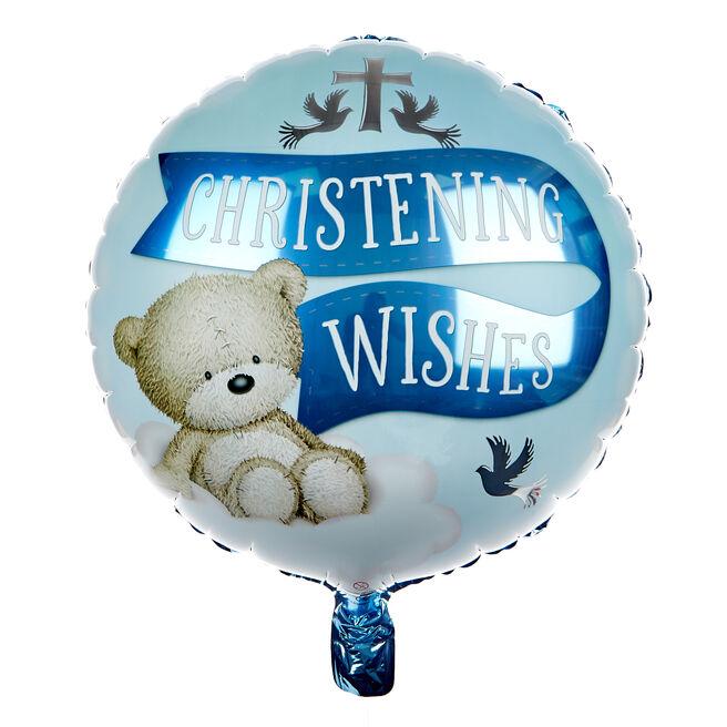 Blue Hugs Bear Christening 18-Inch Foil Helium Balloon