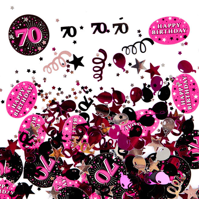 70th Birthday Pink Foiletti - Pack Of Three