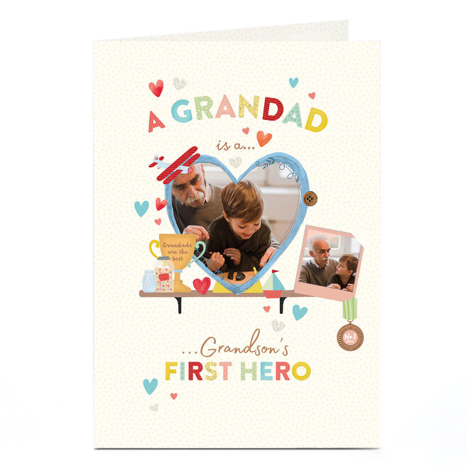 Photo Father's Day Card - Grandad, A Grandson's First Hero