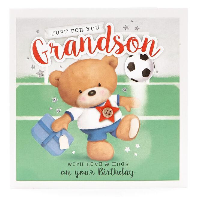 VIP Collection Birthday Card - Grandson Football Hugs