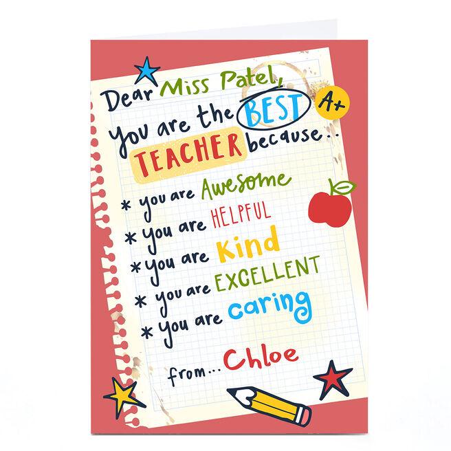Personalised Bev Hopwood Thank You Card - Best Teacher