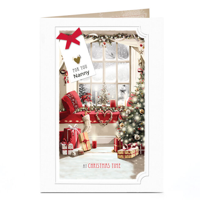 Personalised Christmas Card - Festive Window Nanny