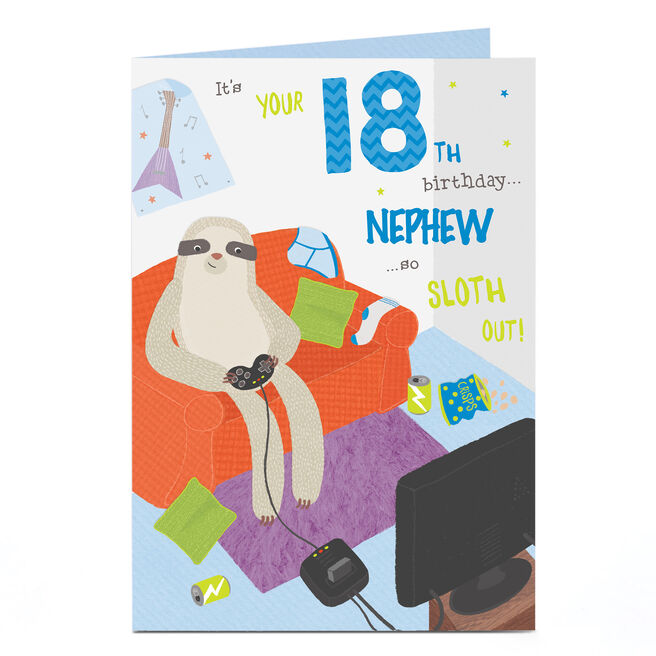 Personalised 18th Birthday Card - Sloth Out [Nephew]