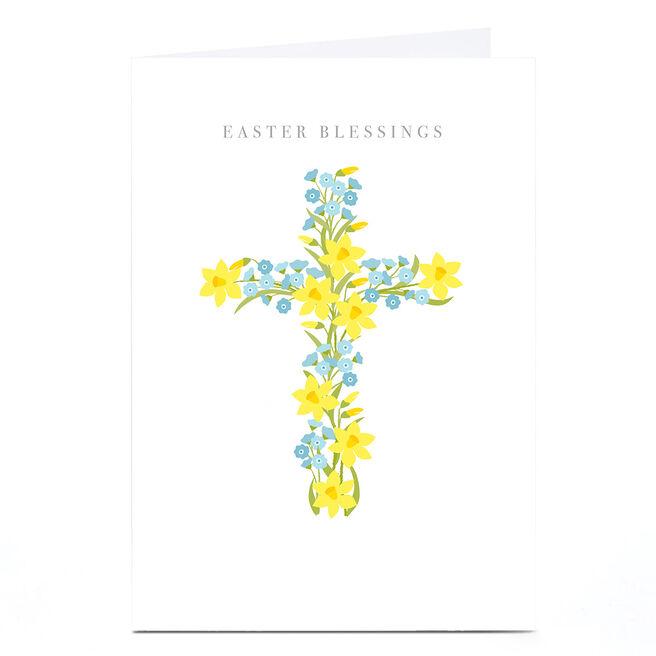 Personalised Klara Hawkins Easter Card - Blessings, Blue & Yellow