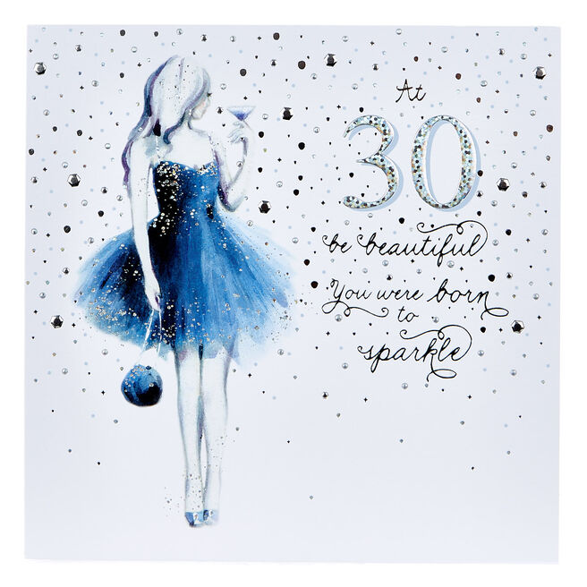Platinum Collection 30th Birthday Card - Born To Sparkle