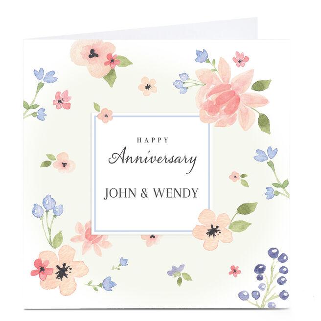 Personalised Anniversary Card - Delicate Flowers