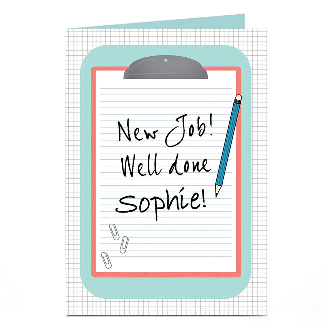 Personalised New Job Card - Clipboard