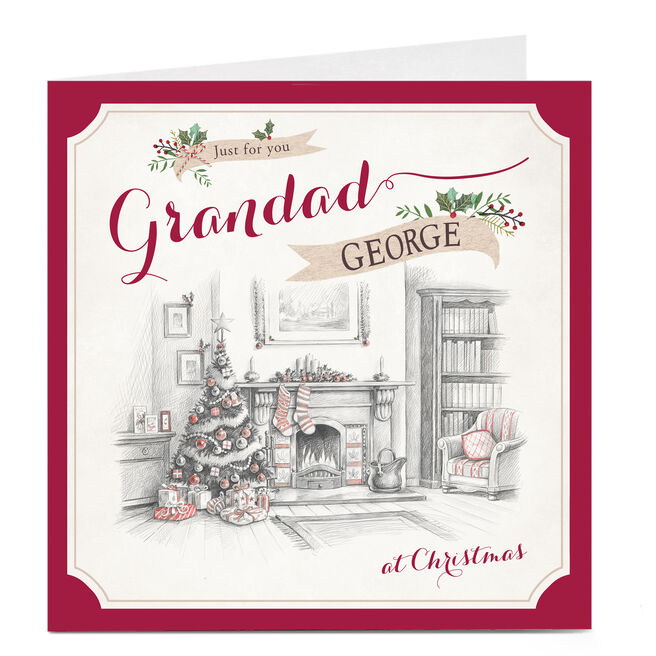 Personalised Christmas Card - Fireplace Grandad