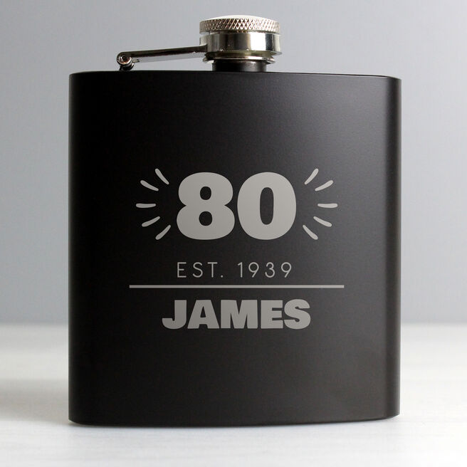 Personalised 80th Birthday Hip Flask - Black & Silver