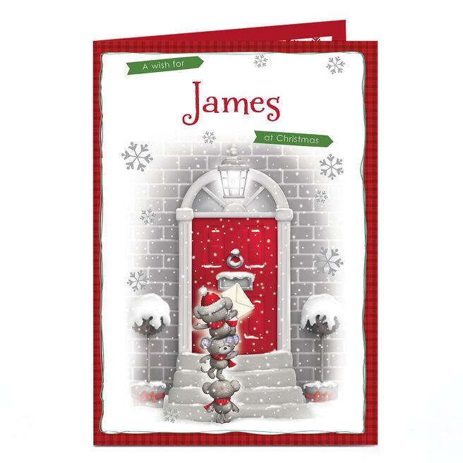 Personalised Christmas Card - Bears At The Door