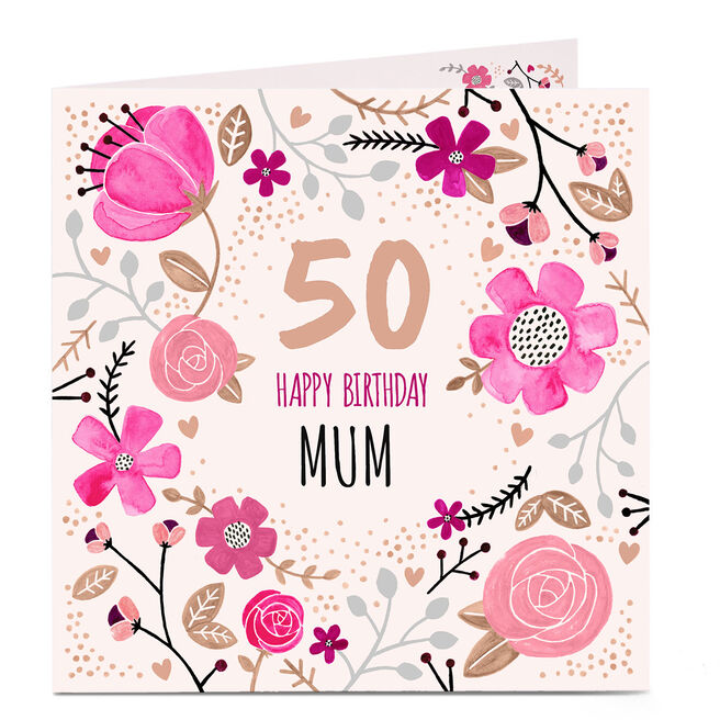 Personalised Birthday Card - Pink Flowers