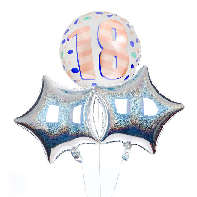 Spots & Stripes 18th Birthday Balloon Bouquet - DELIVERED INFLATED!