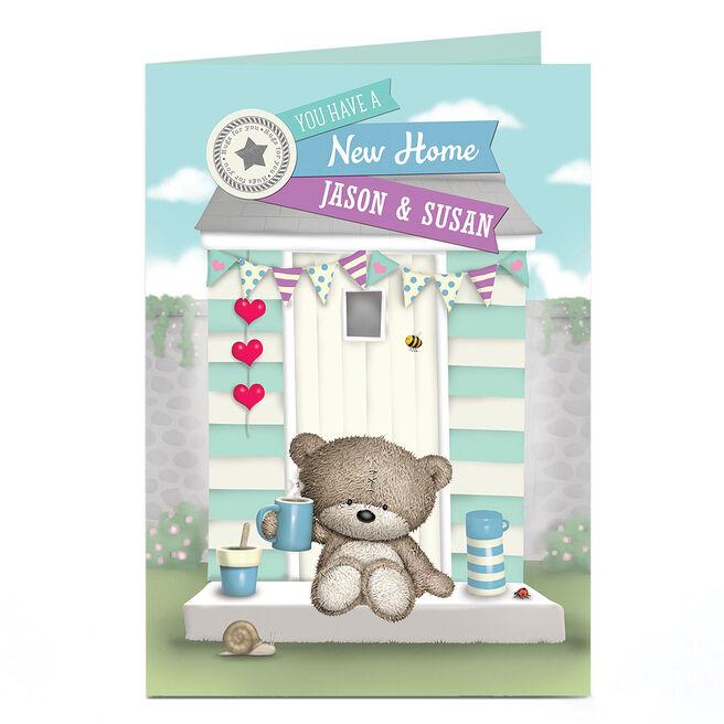 Personalised Hugs Bear New Home Card - Cup Of Tea