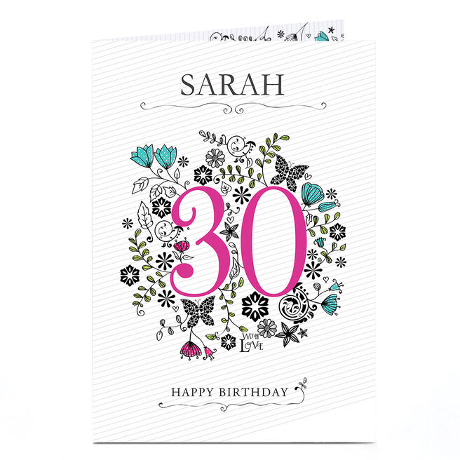 Personalised 30th Birthday Card - Pink & Mint Flowers