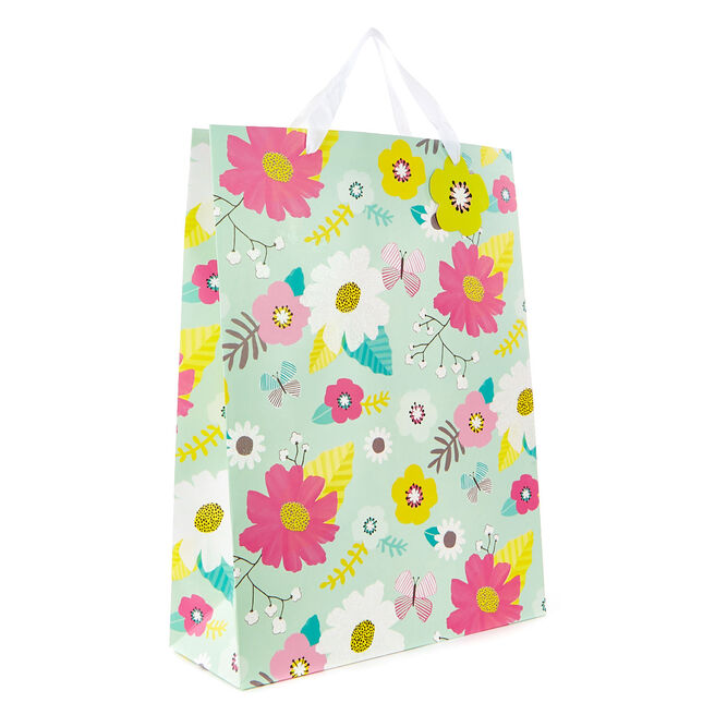 Large Portrait Gift Bag - Mint Floral