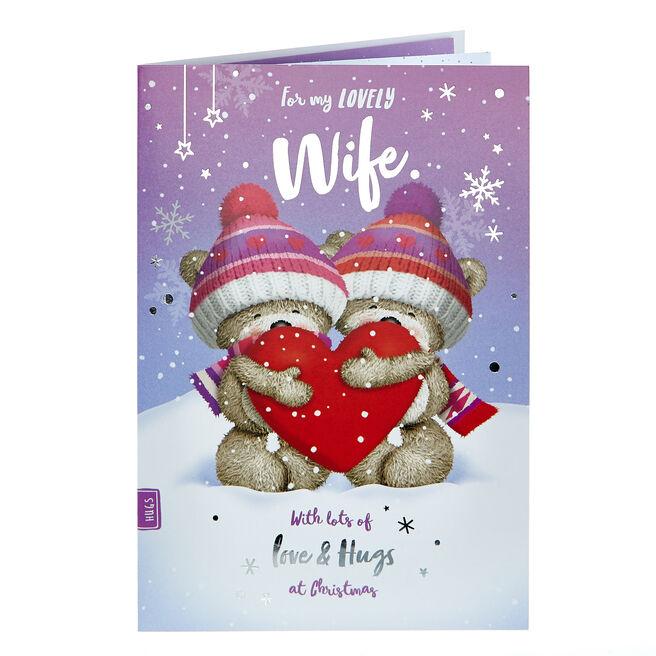 Hugs Bear Christmas Card - For My Lovely Wife