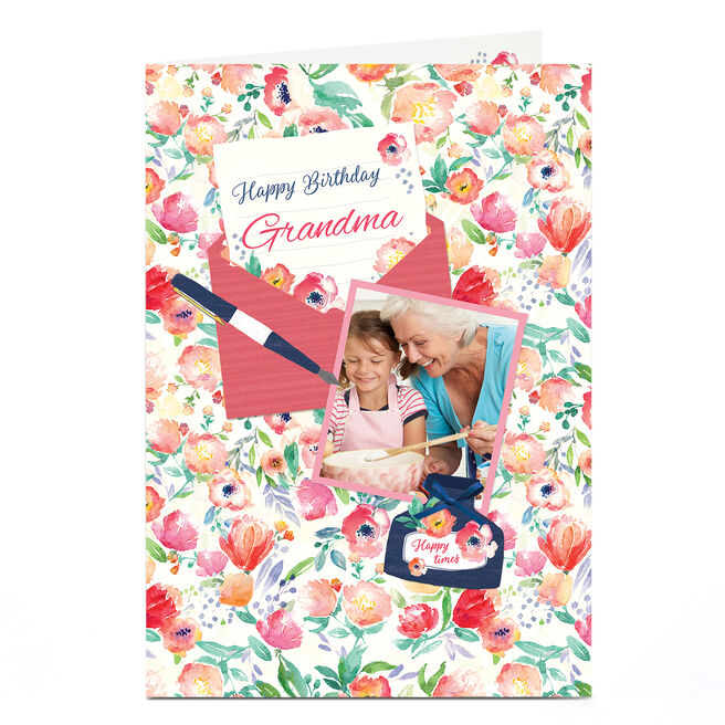 Photo Birthday Card - Grandma Floral Letter