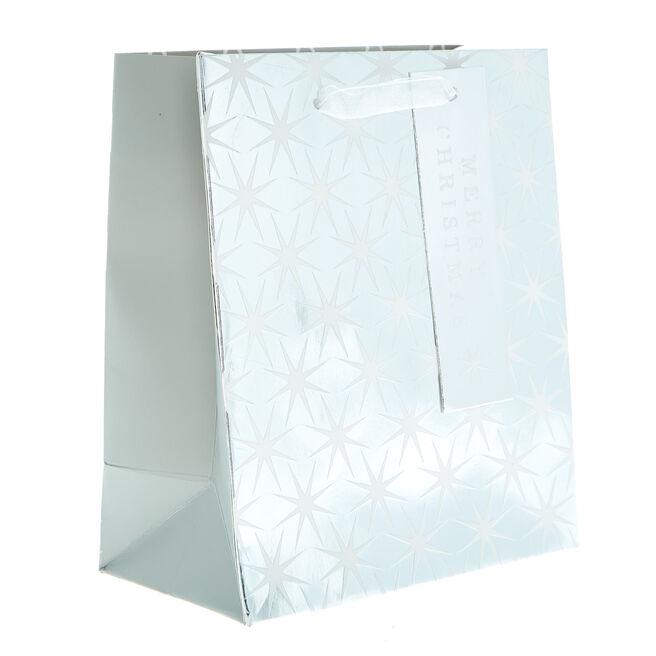 Miniature Portrait White & Silver Stars Christmas Gift Bag