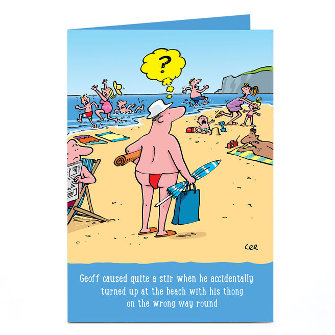 Personalised Card - Beach Thong Cartoon