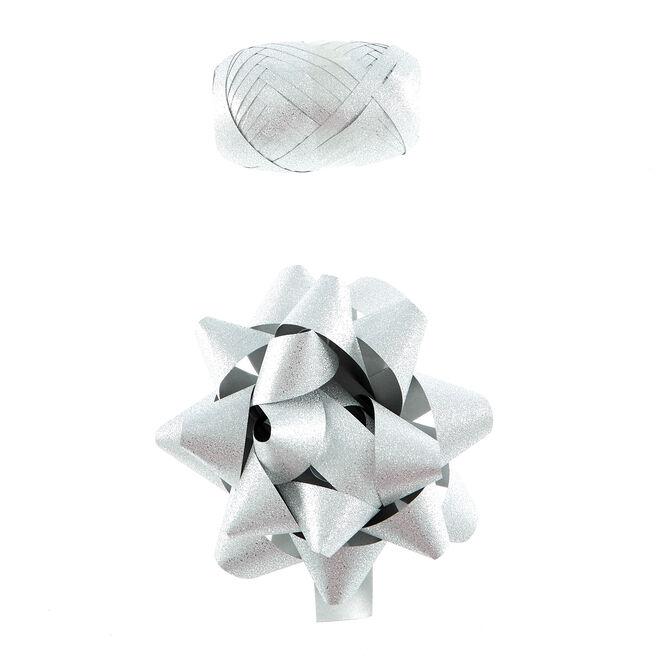 Silver Glitter Bow & Ribbon