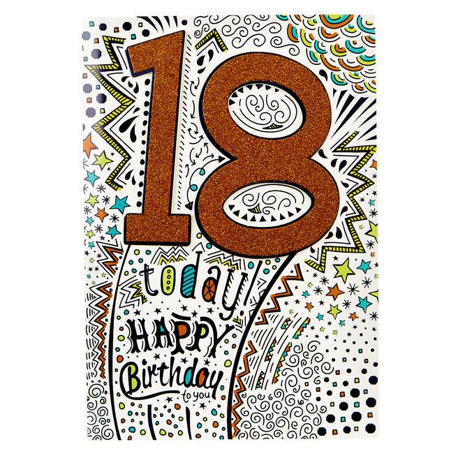 18th Birthday Card - Orange Glitter, Happy Birthday To You