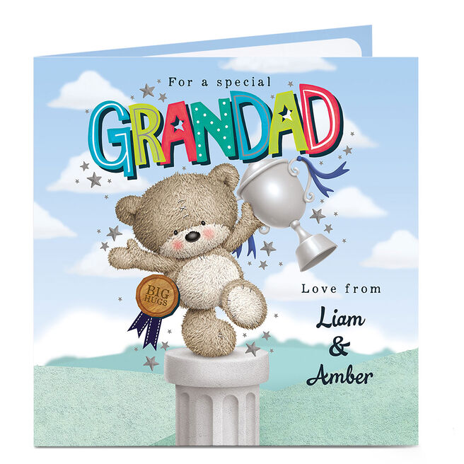 Personalised Hugs Bear Card - Grandad, Trophy