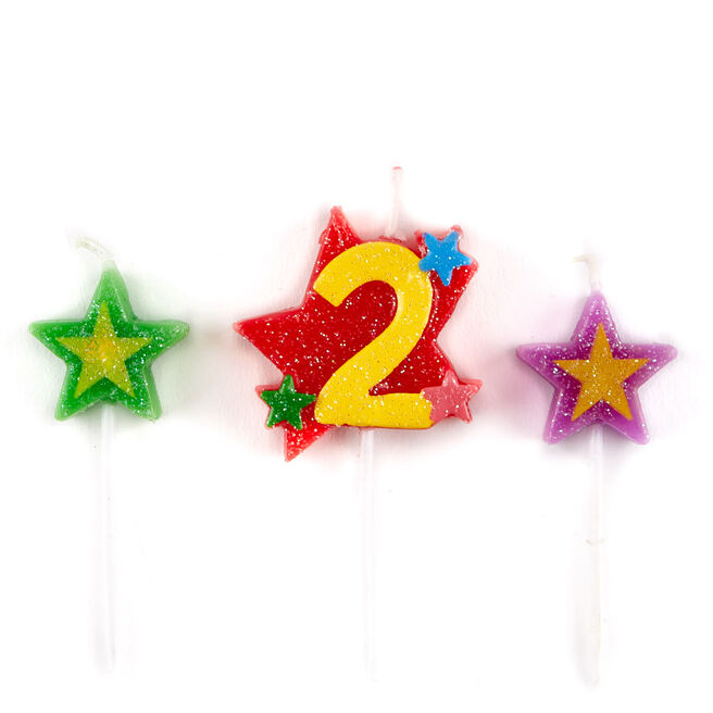 Number 2 Star Birthday Candles - Pack Of 3