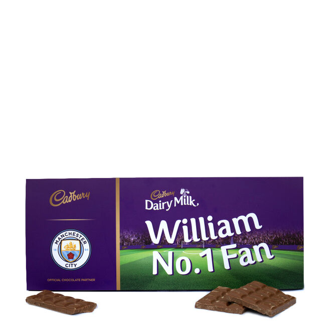 850g Personalised Manchester City Cadbury Dairy Milk Bar