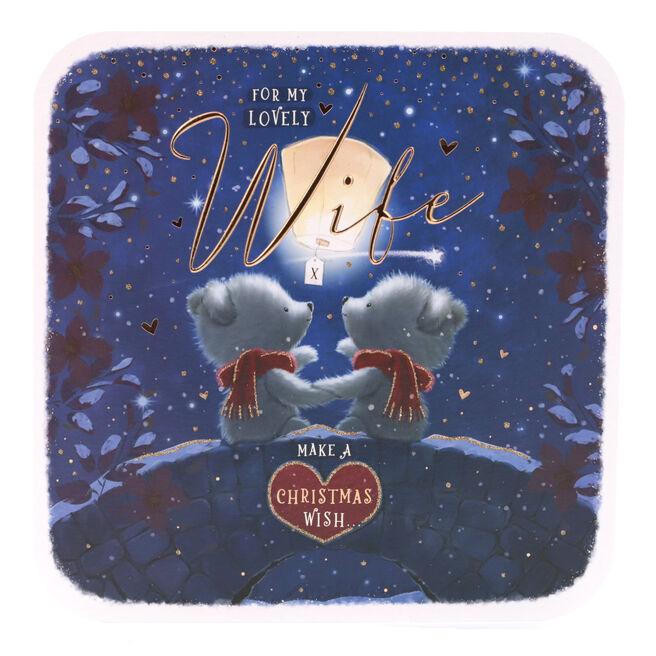 Christmas Card - Wife, Cute Bears Make A Wish