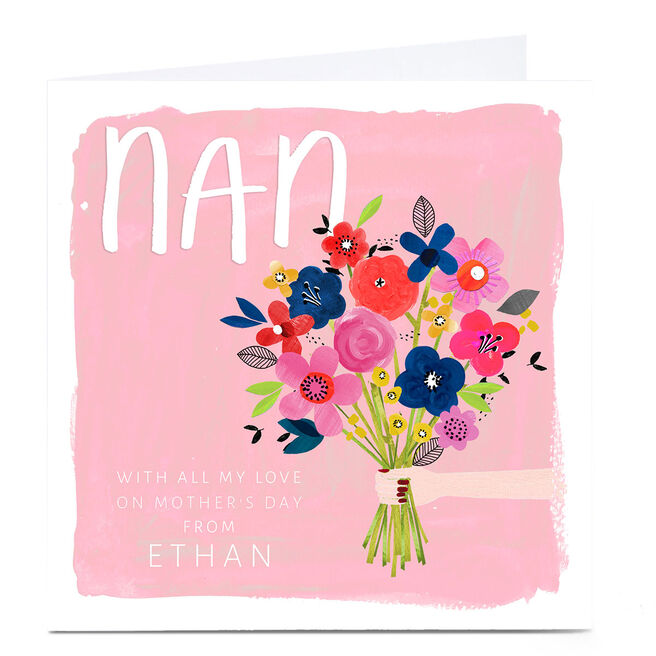 Personalised Kerry Spurling Mother's Day Card - Flowers, Nan