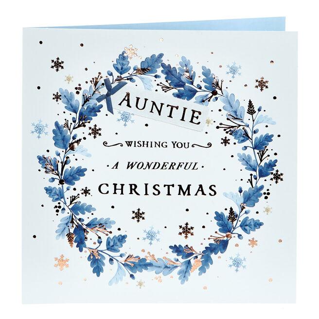 Christmas Card - Auntie Blue Wreath